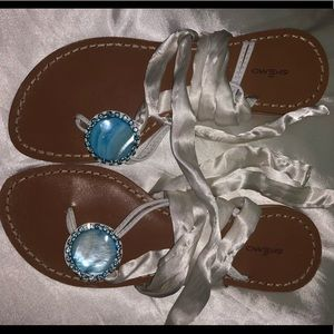 White satin tie up sandal with blue stone detail